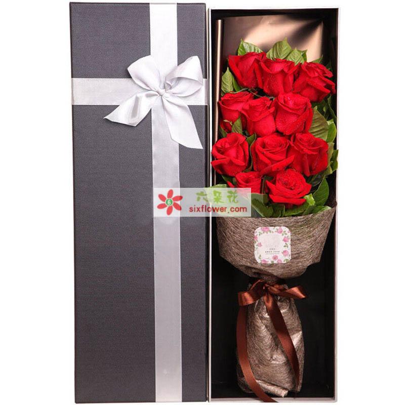 1枝A级红玫瑰花束,绿叶搭配