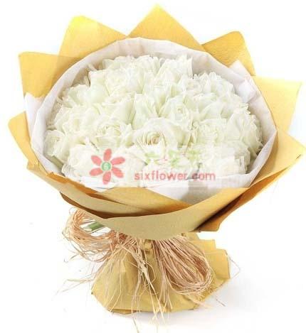 江宁好美鲜花蛋糕让我牵起你的手/36支白玫瑰