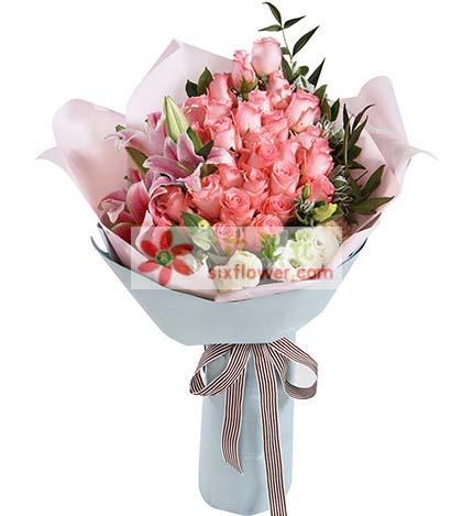一生的爱恋/粉玫瑰29支芳草地花行