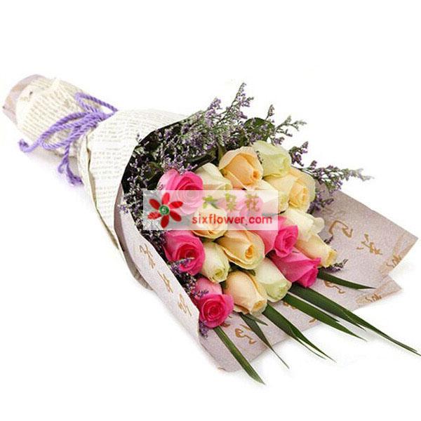 沁香阁鲜花礼品19支玫瑰/地久天长