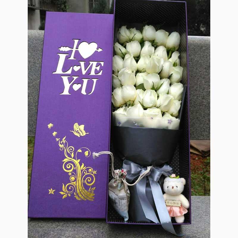 方圆鲜花我很幸福/33支白玫瑰花盒