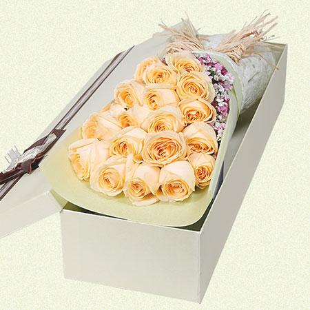 心存感激你的爱/19支香槟玫瑰南京美嘉鼓楼店