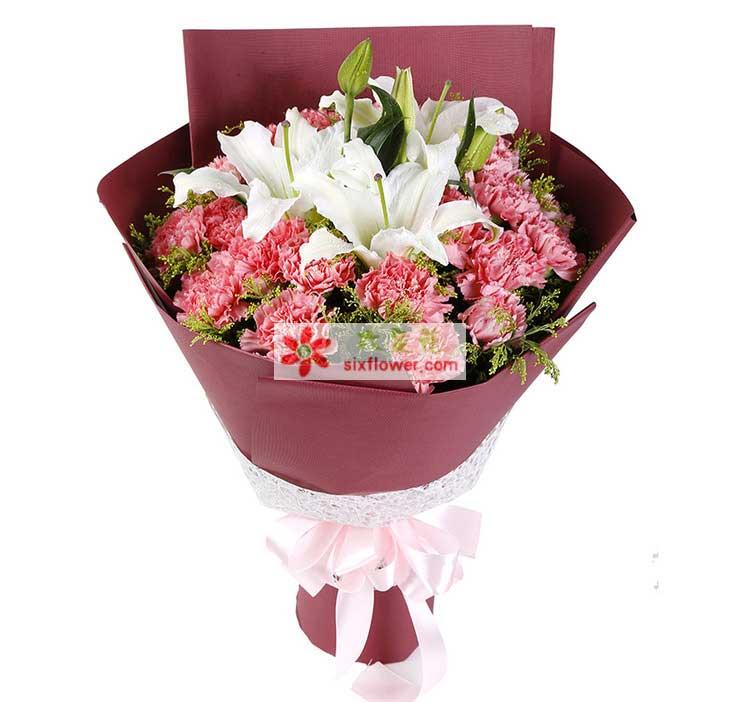 21枝粉色康乃馨,3朵白百合,黄莺搭配;
