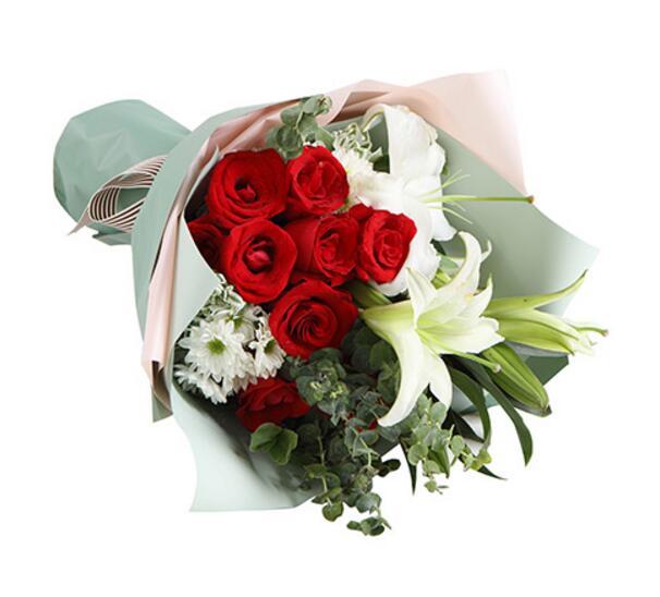此生只与你相守/9支红玫瑰百合彩虹花屋