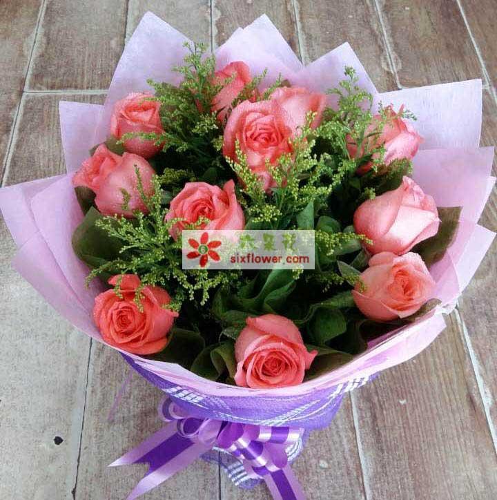 11支粉玫瑰/风雨相伴天津百合鲜花店