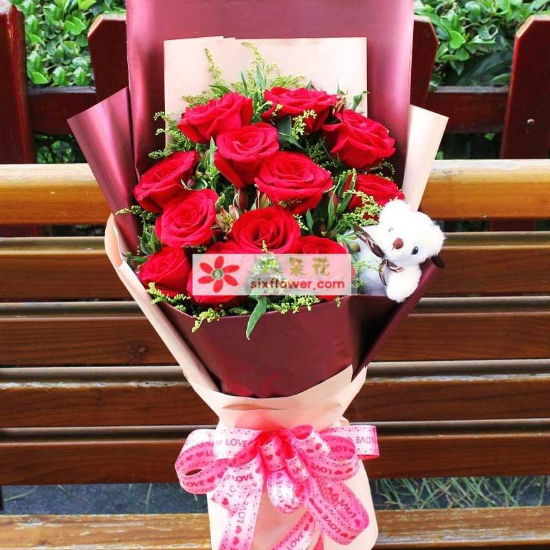 人生舞台上的唯一/12支红色玫瑰上海连心缘鲜花