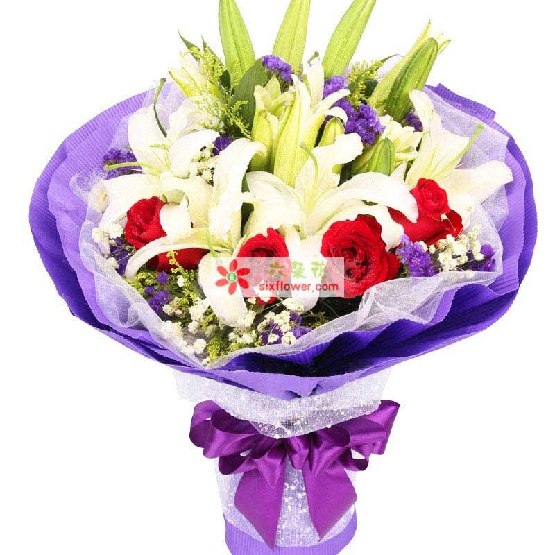 温州瓯海沙仑鲜花店想你是甜蜜的/6支百合玫瑰