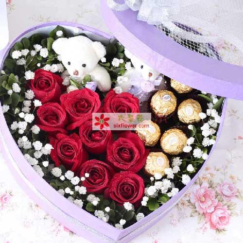 9支玫瑰巧克力礼盒/执子之手果然有花