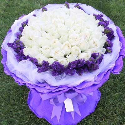 99枝白玫瑰/天天想你嫣然花卉