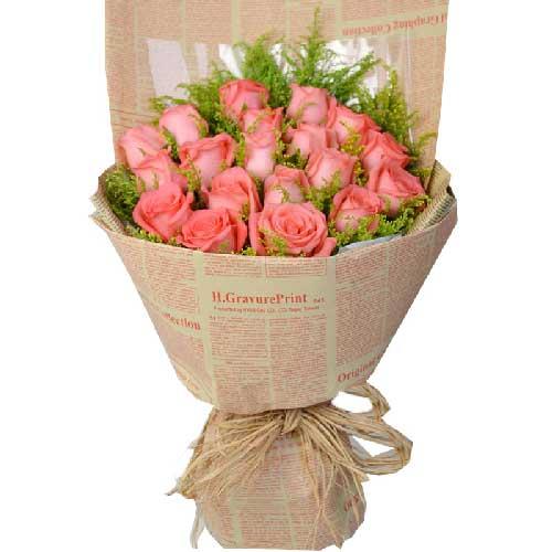 19枝粉玫瑰/青春美丽新鲜花艺