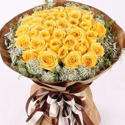 乐喜鲜花店谢谢您/33枝黄玫瑰