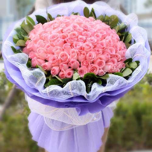 中海花好月缘鲜花店99支粉色玫瑰/无悔的选择