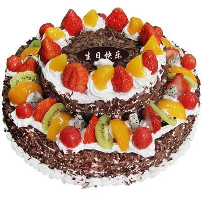 圆形双层鲜奶水果蛋糕大连永合鲜花礼仪