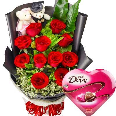11支玫瑰巧克力/爱你的心不离不弃东莞厚街情有独钟花坊