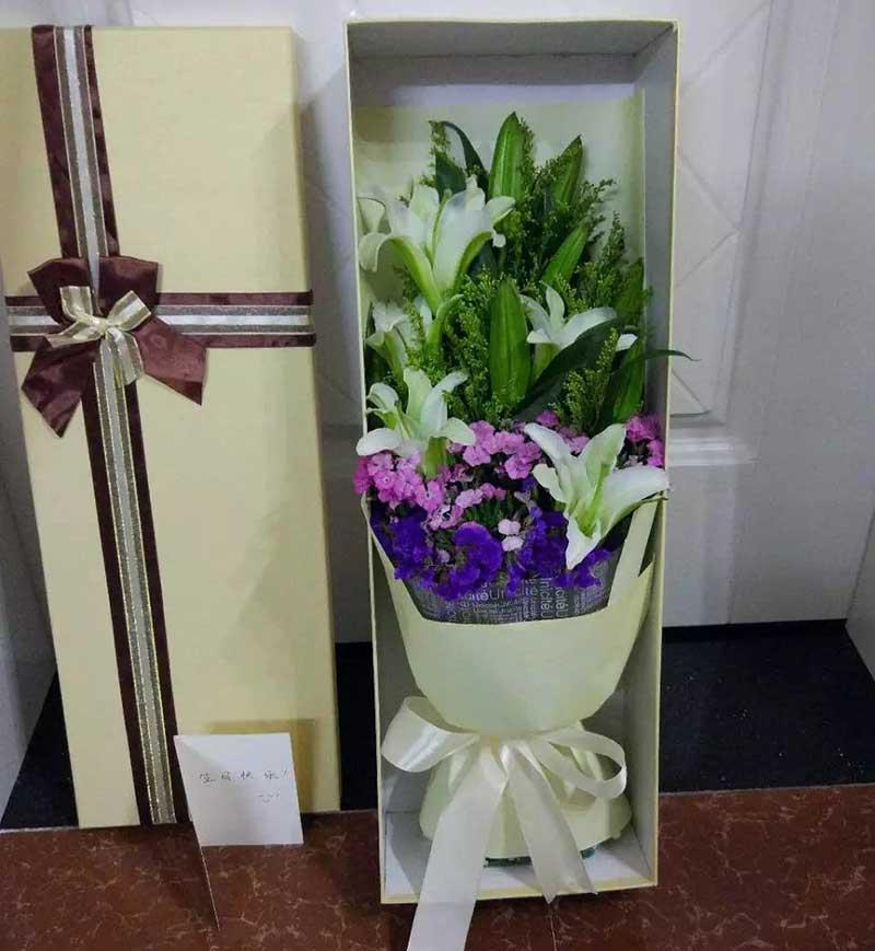 最牵挂我的人是您/6支百合礼盒温州瓯海沙仑鲜花店
