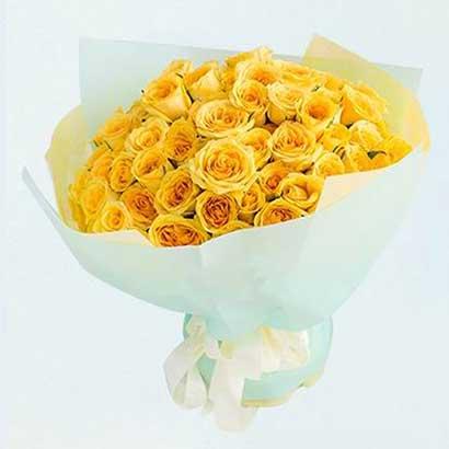 包容/33支黄玫瑰天津滨海新区玫瑰鲜花蛋糕