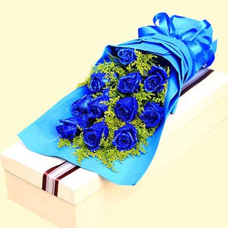 贴心花坊光明新区店给你我所有的爱/11支蓝玫瑰礼盒