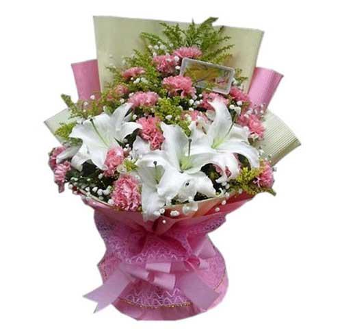 美丽乐观 19枝康乃馨百合 六朵花图片