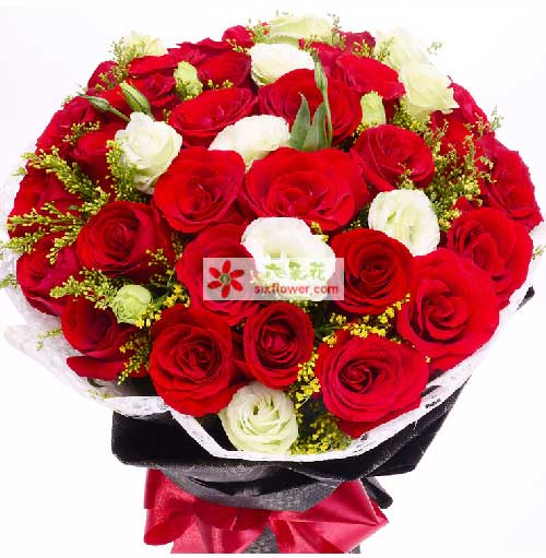 沁语花艺33支红色玫瑰/征服