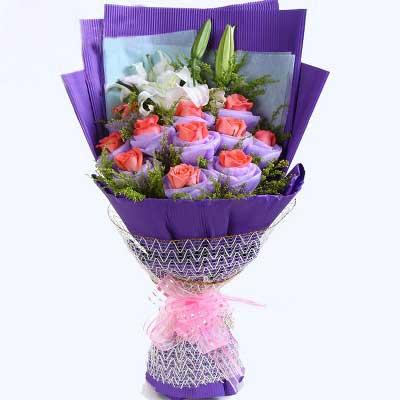 上海崇明新艺鲜花11支玫瑰/亲爱的,你已进我心里,永远爱你