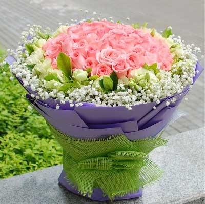惠州惠阳子艺花缘坊粉玫瑰99支/你幸福了,我就幸福了