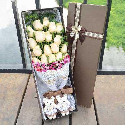 贴心花坊光明新区店香槟玫瑰20支/祝您身体健康,幸福永远!