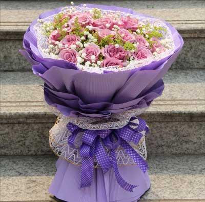 19枝紫玫瑰/深深的爱长存心底用不变唯美花艺