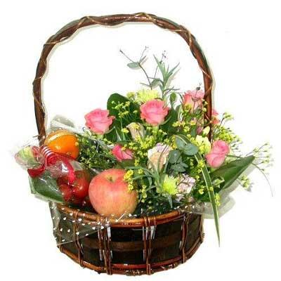 沁语花艺水果花篮/拥有一丝温暖和感动