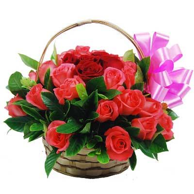 与你相遇是一种幸福,幸福伴随你到永久/28支玫瑰花篮青岛胶州卉蕾鲜花店