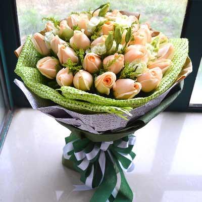 时下姐花房你给了我幸福/香槟玫瑰33枝