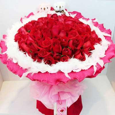 红玫瑰99支/想有一双翅膀,让我飞在你身旁东莞长安紫罗轩花店