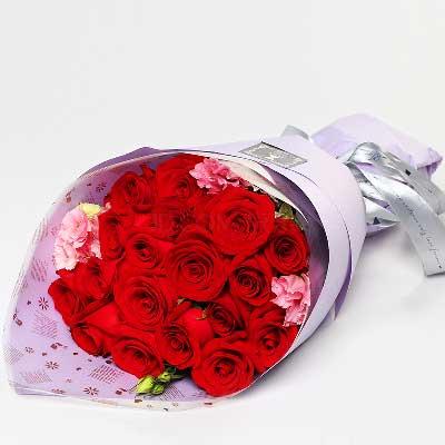 19支红玫瑰/狂热的爱上海绿萝花艺