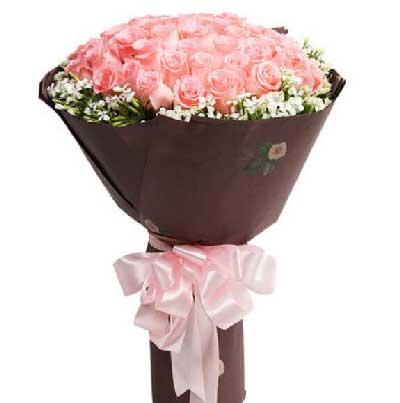 33枝粉玫瑰/愿天天轻轻地咬你的耳朵上海花姑子