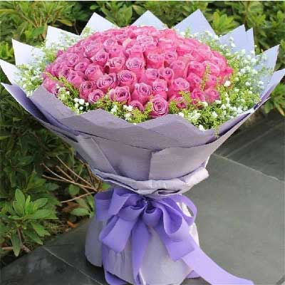 天津百合塘沽店99支紫玫瑰/你是我一生的最爱
