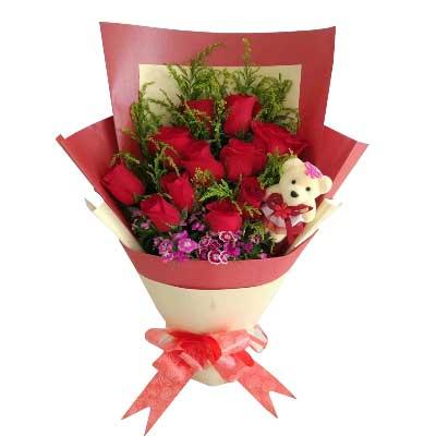比翼双欢,爱到永远/11支红色玫瑰望城兰亭花坊