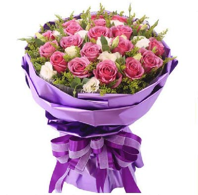 花海格花店漫天的花絮,是爱的诗句/19枝紫玫瑰