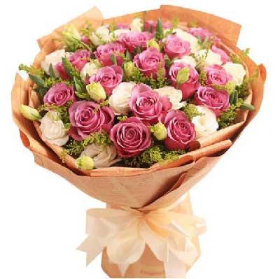 仁和花卉19支紫玫瑰/我心里在想你