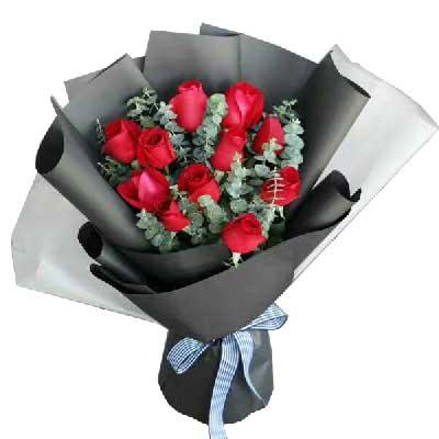 我愿意一辈子为你做牛做马/11枝红色玫瑰嫣然花卉
