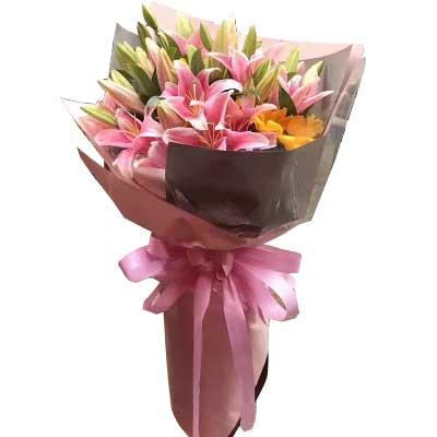 广州1号花店愿你快乐开心/9支多头粉色百合,1支向日葵