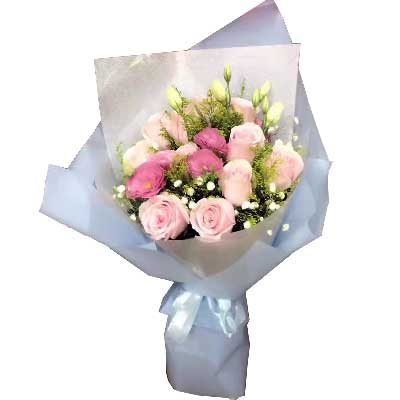 遇见你美妙无比/9支粉色玫瑰、3支紫色玫瑰晟佰棠花艺店