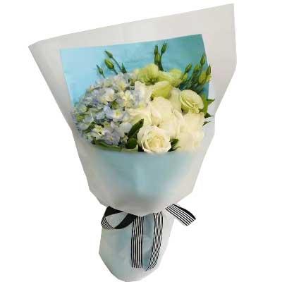 幸福鲜花婚庆一生幸福无恙/11支白色玫瑰,9支桔梗,1个蓝色绣球花