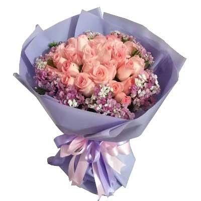 白头到老,一生的相依/21支粉色玫瑰百草园花艺