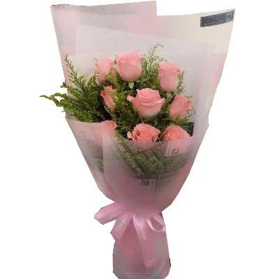 幸福之花/9支戴安娜粉色玫瑰六六大顺精品鲜花屋