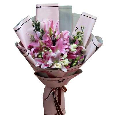 惜缘鲜花行向最可爱的人致敬/6支粉色多头香水百合