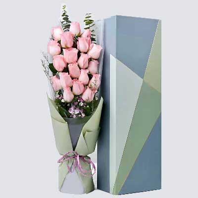杭州珊珊花店人生感触有你很好/19支粉色玫瑰