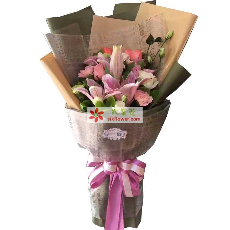 温州168鲜花幸福里/6支粉色玫瑰,6支粉色康乃馨