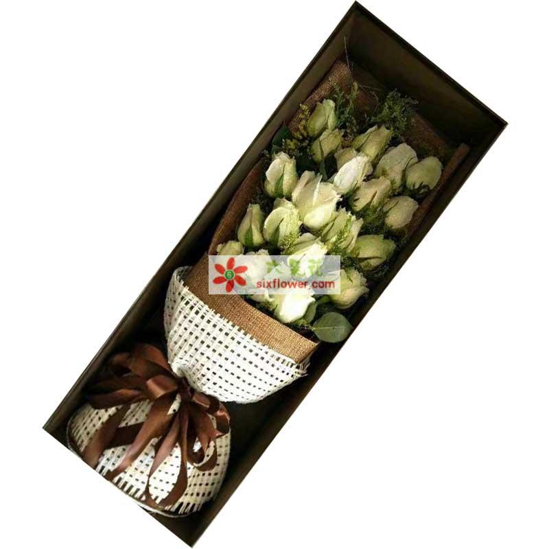 长安浪漫花都对你深深的爱恋/19支白色玫瑰