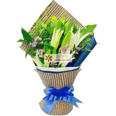 爸爸妈妈一生快乐/4支白色多头香水百合天津滨海新区玫瑰鲜花蛋糕