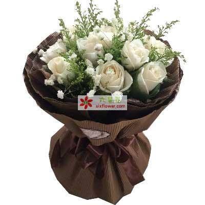 慈溪一梅花艺每一天灿烂美丽/11支白色玫瑰