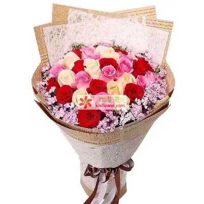 杭州珊珊花店爱上你是我今生最大的幸福/30支玫瑰
